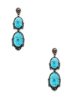Amrapali  Diamond & Carved Turquoise Double Buddha Drop Earrings
