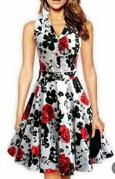 ZAFUL Cotton women vintage dress Rose Floral print Rockabilly Swing feminine vestidos Plus size Party Belts dress Pin Up Dresses, Party Dresses For Women, Simple Dresses, Cute Dresses, Fashion Dresses, Summer Dresses, 50 Fashion, Bride Dresses, Fashion Fall