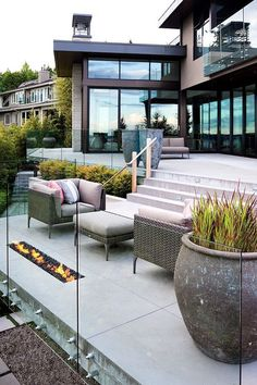 modern garden-nice and simple, container gardening, stairs, fire pit, patio furniture, backyard, serenity, simplicity