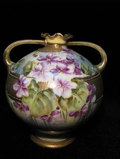Nippon Violet and Gold Moriage Beaded Hand Painted Vase