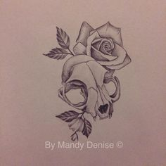 Design Mandy Denise#cat #skull #rose #tattoo