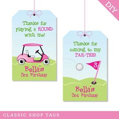 PINK Golf party - Personalized DIY printable favor tags. $12.00, via Etsy.