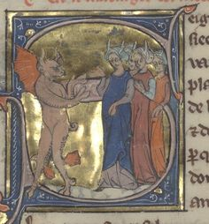 last quarter of the 13th century (1275-1300) France? Bibliothèque de l'Arsenal Arsenal 3142: (Collection of poems, in Old French) fol. 292r - marriage of the Devil's daughters http://gallica.bnf.fr/ark:/12148/btv1b55003999w/f1.planchecontact