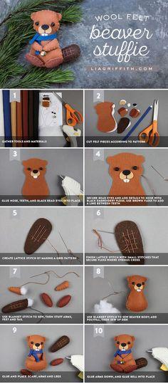 DIY Felt Beaver - Lia Griffith - www.liagriffith.com #felt #feltcute #diytoy #diytoys #diystuffedanimals #madewithlia