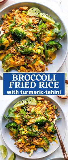 30 minute broccoli fried rice with turmeric-tahini sauce revamps a takeout classic with an extra dose of veggies for a healthy, one-pan meal. #friedrice #ricerecipes #ricerecipeseasy #ricerecipeshealthy #friedricerecipe #tahinisauce #30minutemeal Broccoli Fried Rice, Vegetarian Fried Rice, Rice With Broccoli, Healthy Fried Rice, Veggie Fried Rice, Healthy Rice Recipes, Vegetarian Recipes, Healthy Spring Recipes, Healthy Food