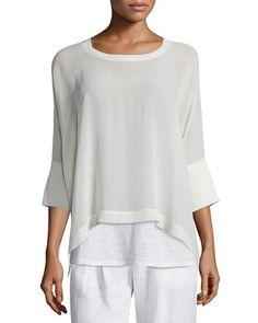 TC3QE Eileen Fisher 3/4-Sleeve Sheer Silk Top