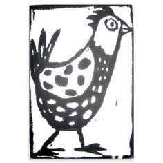 Anita Klein - Chicken, Limited Edition Woodcut, 23x18cm, $97 !!