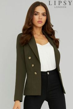 Green Lipsy Military Tailored Button Blazer