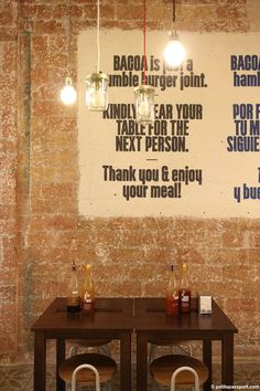 TRIED & TESTED: BACOA BARCELONA Painted signs on exposed brickwork