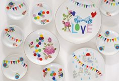 Beautify my walls with brightly colored plates.