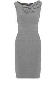 Sleeveless gray dress with neckline detail. Great for the office!
