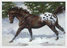 Appaloosa running through snow. 7x5 gouache painting.