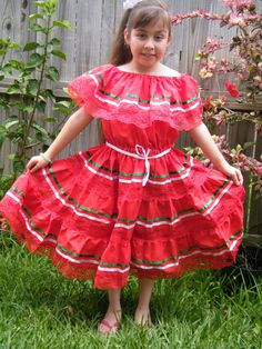 Beautiful Authentic Girls Fiesta Mexican Dress size 9 - 10 years old    Color, Yellow w/2 color satin ribbons    Size Details:  Length: from shoulder