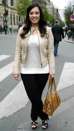 Totally tonal! Wear a white fitted sweater under a cream moto jacket for major street-chic vibes.
