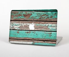 The Chipped Teal Paint On Wood Skin for the Apple MacBook Air - Pro or Pro with Retina Display (Choo Macbook Skin, Macbook Air Pro, Macbook Pro 15, Apple Macbook Pro, Mac Skins, Macbook Pro Stickers, Macbook Accessories, Teal Paint, Apple Laptop