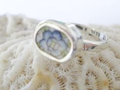 Chunky Broken China Ring Sterling Silver Blue by MaroonedJewelry, $25.00