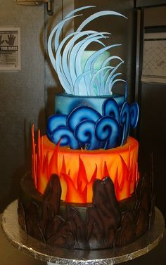 An awesome Avatar cake, with a tier for each element. Last Airbender Cake