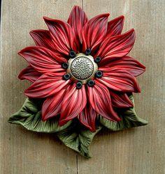 *POLYMER CLAY ~ Deep Red Flower Pendant by ZudaGay, via Flickr