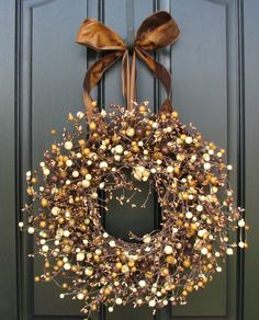 Fall Wreath, Brown and White