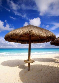 Photographic Print: Palapa Umbrella on Cancun Beach, Mexico Poster by George Oze : Best Umbrella, New Fine Arts, Beach Date, Puerto Morelos, Shade Structure, Beach Gardens, Cancun, Riviera Maya, Beach Photos