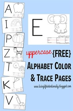 Uppercase Alphabet Color and Trace Worksheets
