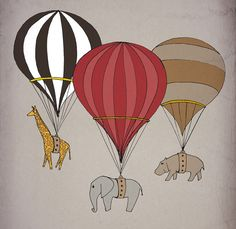 Elephant giraffe hippo Hot air balloon Archival Art Print 12x16 nursery poster children room Illustration kids baby, girl, boy wall decor. $40.00, via Etsy.