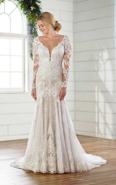 Long-Sleeved Lace Wedding Dress with Open Back by Essense of Australia - Wedding Gowns Wedding Gowns With Sleeves, Long Sleeve Wedding, Lace Wedding, Wedding Veils, Elegant Wedding, Perfect Wedding, Dream Wedding Dresses, Designer Wedding Dresses, Essense Of Australia Wedding Dresses