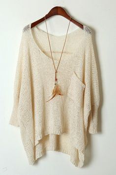 Batwing Sleeve High-Low Sweater OASAP.com love it!