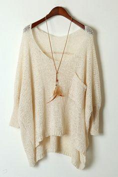 Batwing Sleeve High-Low Sweater OASAP.com love it!