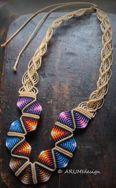 Micro macrame statement necklace SAND RAINBOW by ARUMIdesign, €49.00
