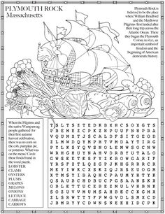 Welcome to Dover Publications - USA Facts & Fun Kids Word Search, Word Search Puzzles, Printable Mazes, Free Printable Coloring Pages, Usa Facts, Thanksgiving Worksheets, Plymouth Rock, Hidden Pictures, Dover Publications