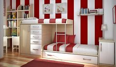 Red And White Cool Teen Room Ideas home trends design photos, home design picture at Home Design and Home Interior Kids Bedroom Designs, Kids Room Design, Design Bedroom, Nursery Design, Shared Bedrooms, Awesome Bedrooms, Teen Bedrooms, Fitted Bedrooms, Awesome Beds