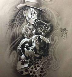 Risultati immagini per chicano tattoo style Art Chicano, Chicano Art Tattoos, Chicano Drawings, Gangster Tattoos, Skull Tattoos, Tattoo Drawings, Body Art Tattoos, Sleeve Tattoos, Lowrider Tattoo