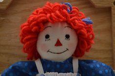 Raggedy Ann handmade 9 inch by MandMneedles on Etsy