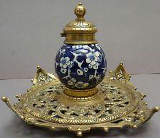 Encrier 19e siècle en bronze et porcelaine TOWNSHEND & Co England Inkwell