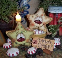 Primitive Christmas Santa Sugar Cookie Ornament Snowman Star Vtg Patti's Ratties