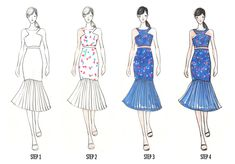 Vikki Yau from Fashionary has several tools for designing and illustrating garments. She is often asked how she creates her fashion illustrations so today she shares the step-by-step process. Fashion Line, Fashion Art, Womens Fashion, Fashion Design, Fashion Figure Drawing, Drawing Fashion, Fashion Sketches, Fashion Illustrations, Basic Style
