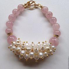 Купить Браслет Вдохновение - розовый, белый, нежность, нежный браслет, подарок…