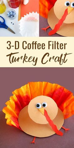 Turkey Craft! This 3-D coffee filter turkey craft for kids would be a fun Thanksgiving activity for preschool or kindergarten aged kids.