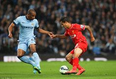 Shimmy: Phillipe Coutinho attempts to turn Fernando inside-out during a nervy first-half at the Etihad Stadium