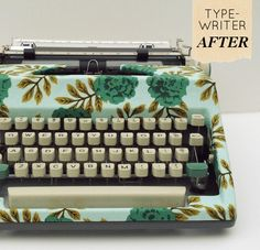 Adorable typewriter cover using fabric from the Rosette collection by Julia Horner. #fabrictraditions #DIY #crafting  Fabric available @Jo-Ann Fabric and Craft Stores
