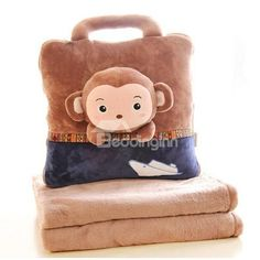 Super Cute Brown Monkey Pattern Dual Use #Throw #Pillow and #Blanket