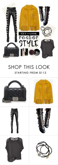 """""""Untitled #394"""" by fallinginlovewithlove ❤ liked on Polyvore featuring Chanel, Zara, Yves Saint Laurent, Laurence Dacade, Raquel Allegra, Feather & Stone, rockerchic and rockerstyle"""