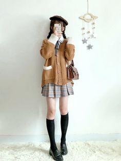 Earth tones Japan Fashion, Kawaii Fashion, Lolita Fashion, Cute Fashion, Girl Fashion, Womens Fashion, Cute Korean Fashion, Cute Skirt Outfits, Cute Casual Outfits