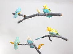 Baby Bird Mobile for Nursery Decor  fabric by BabyJivesCo on Etsy, $168.00