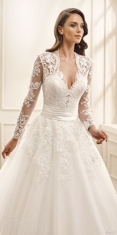 Eddy K. 2016 Wedding Dresses - eddy k bridal 2016 illusion long sleeves sweetheart ball gown wedding dress (ek1072) zv traditional romantic