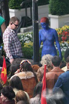 Jennifer Lawrence Back In 'Mystique' Body Suit On Set Of X-MEN: DAYS OF FUTURE PAST