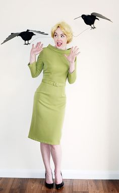 Hitchcock fans, dress up as Tippi Hedren in The Birds for Halloween.