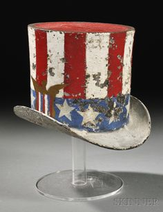 Patriotic Painted Cast Iron Top Hat Spittoon, 19th century
