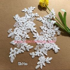 Hb177I 2Pc Flower Motif Fabric Embroidered Lace Trim Sewing Applique Dress Decor